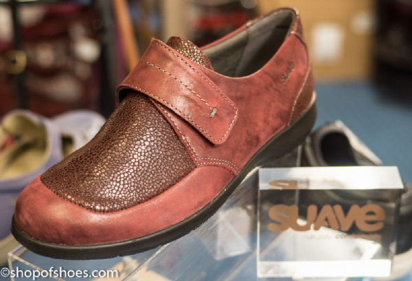 Lucille wine shimmer leather velcro shoe.